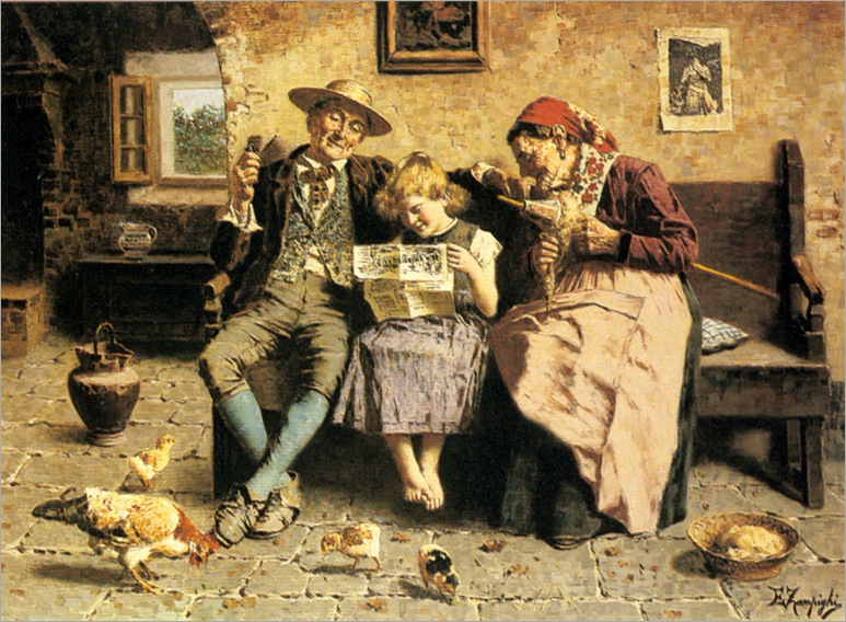 EugenioZampighi(1859-1944)-reading_the_news