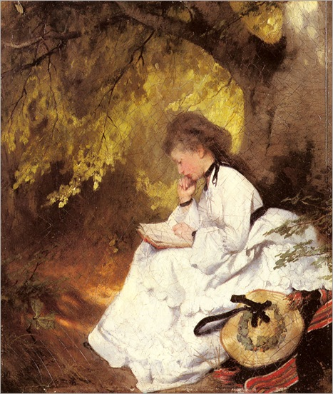 karlRaupp_an_elegant_lady_reading_under_a_tree