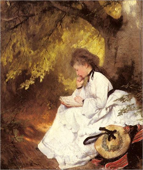 karlRaupp_an_elegant_lady_reading_under_a_tree