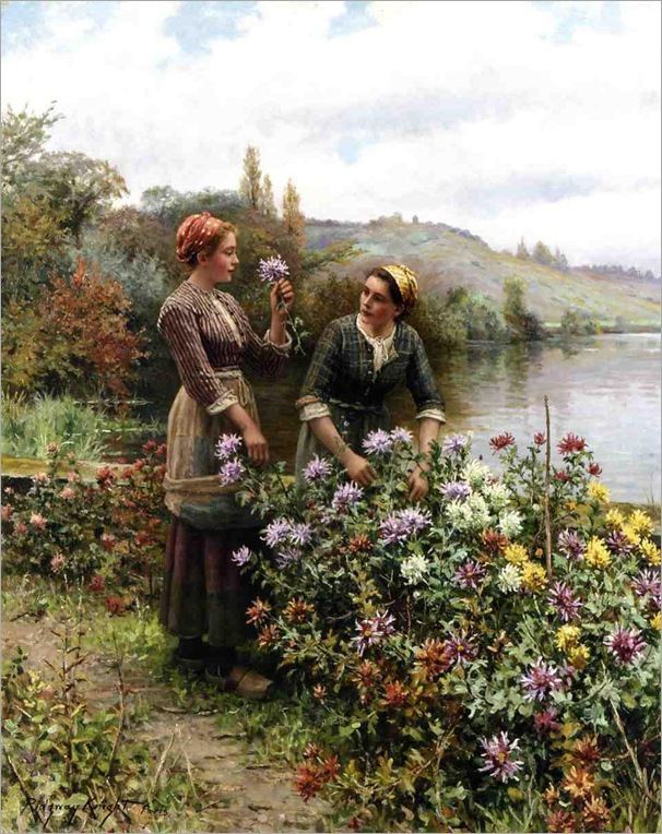 Knight-Daniel-Ridgway-Peasant-Girls-in-Flower-Garden