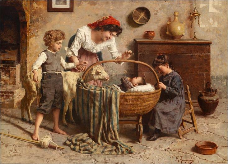 Eduardo Eugenio Zampighi (1859–1944) «Idyllic Family Scene with Newborn»