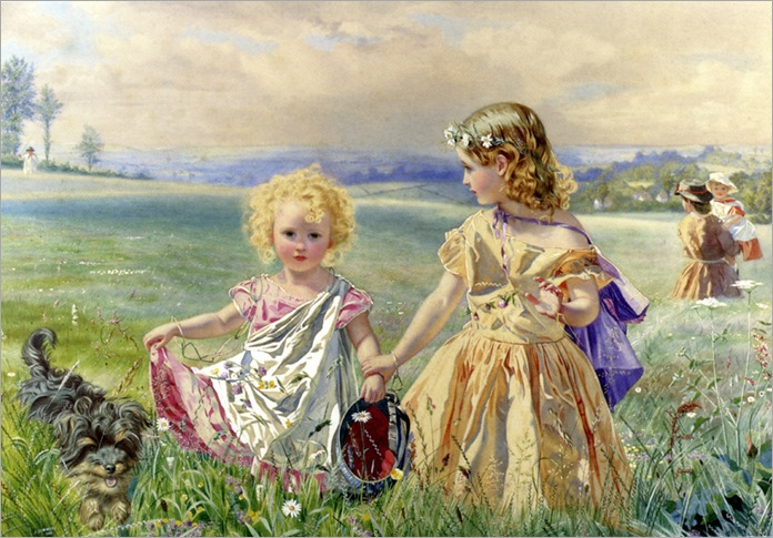 JDeanneSimmons_children_garlanded_with_flowers_in_a_meadow