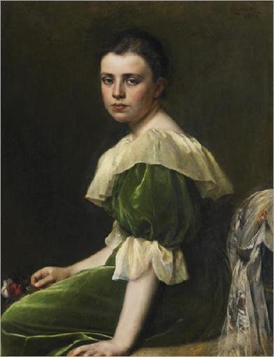 retrato-de-menina-com-um-vestido-verde-Leopold-Horovitz