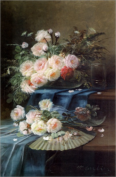 Carlier_Max_Flowers_Fan_and_a_Glass_on_Draped_Table_Oil_On_Canvas