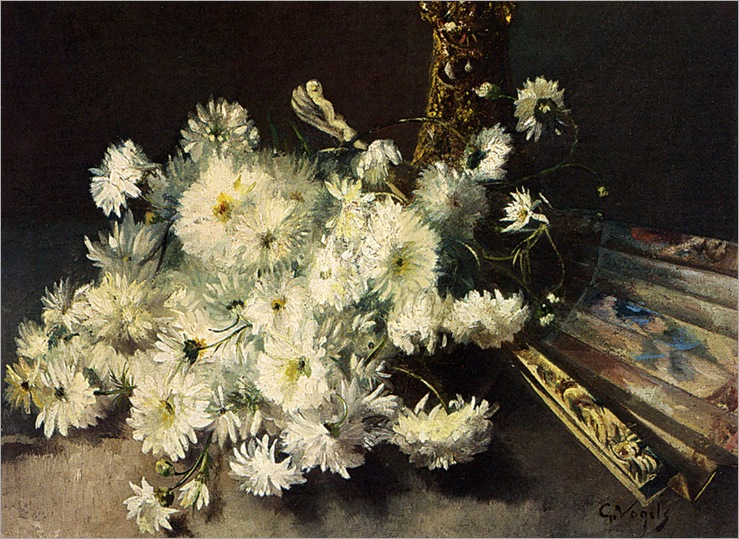 GuillaumeVogels-a_still_life_with_chrysanthemums_and_a_fan