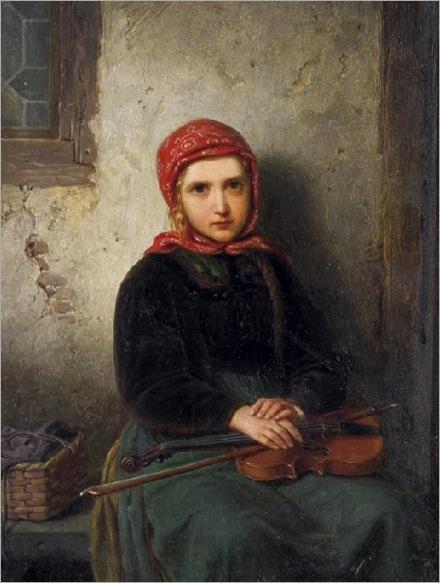 HEINRICH-FRANZ-GAUDENZ-VON-RUSTIGE-menina-com-o-violino