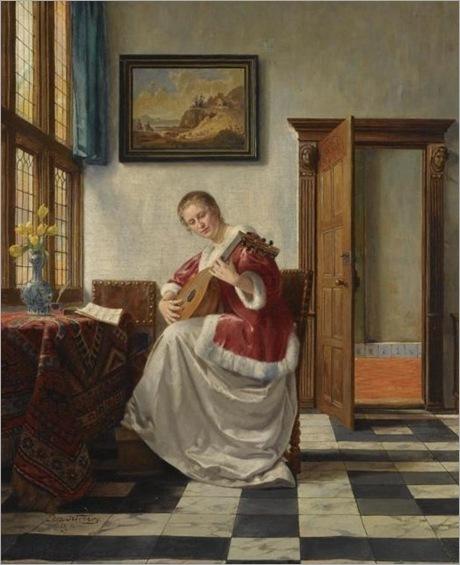 Otto Karl Kirberg (1850-1926) - Playing the lute