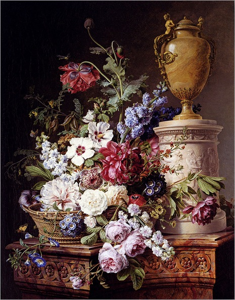 Spaendonck_Gerard_Van_Still_Life_Of_Flowers_In_A_Basket_With_Two_Butterflies
