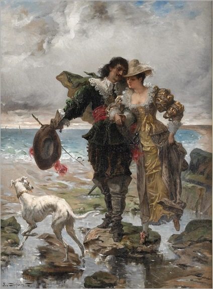 Edmond-Louis Dupain-a-romantic-stroll