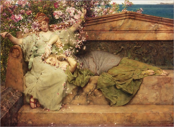 in-a-rose-garden-Sir-Lawrence-Alma-Tadema