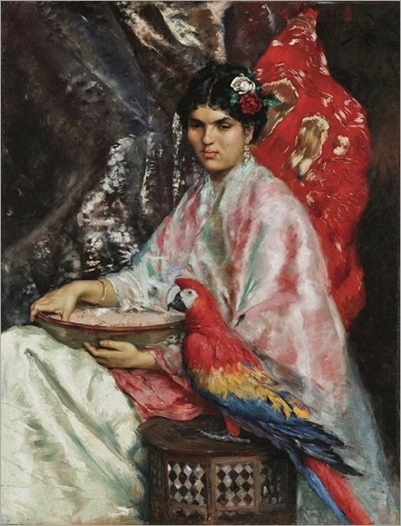 Julius Leblanc Stewart (American expatriate painter, 1855–1919) Lady with a Parrot