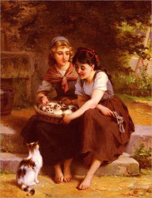 Emilemunier_deux_filles_avec_un_panier_de_chatons