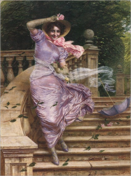 Gaetano Bellei (Italian, 1857-1922)-A Gust of Wind