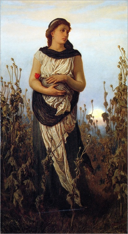 Girl with poppies, 1877-Elihu-Vedder