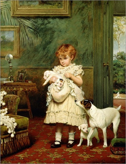 Girl_with_Dogs_1893_by_Charles_Burton_Barber