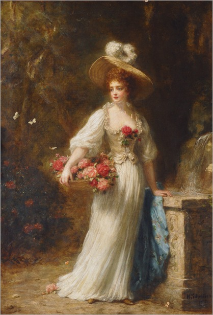 lady-with-a-basket-of-roses-Hermann Schmiechen