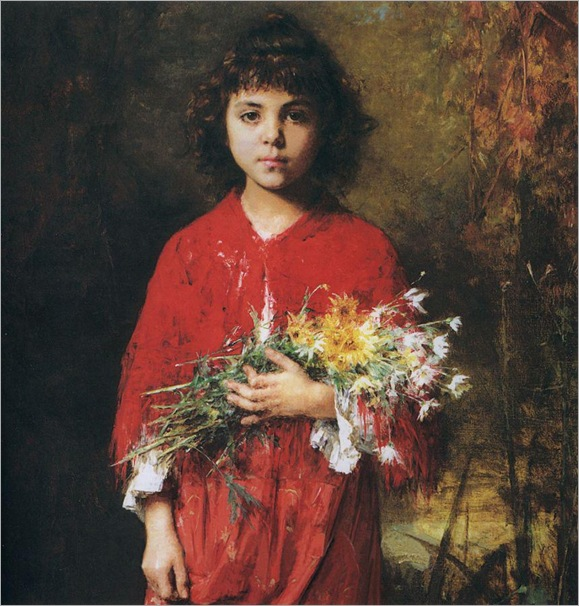 Portrait of a young girl with flowers-Harlamoff