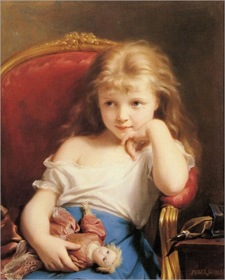 young-girl-holding-a-doll-fritz-Zuber-Buhler