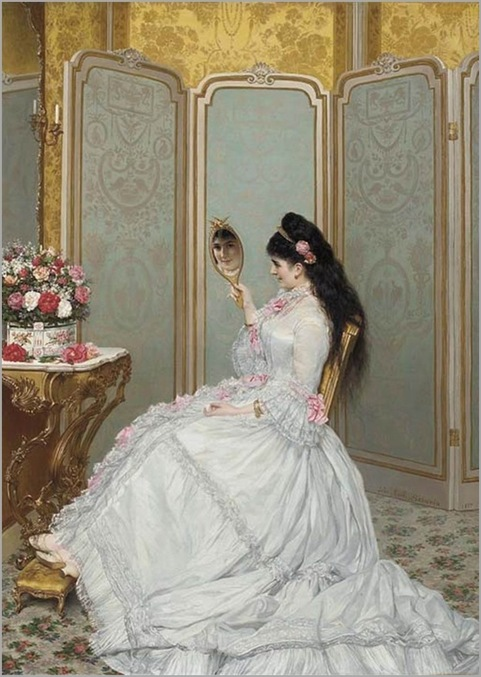 A Fair Glance by Jules Emile Saintin (French, 1829-1894)