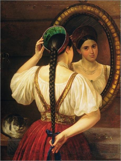 a-girl-at-the-mirror-Philipp-Osipovich-Budkin-
