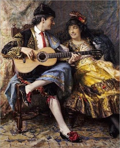 Burrington, Arthur Alfred (1856-1925) - A Spanish Singer and his Lady