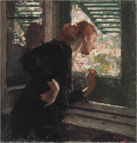 Lady at a window-Vincenzo-Irolli-(Italian, 1860-1945)