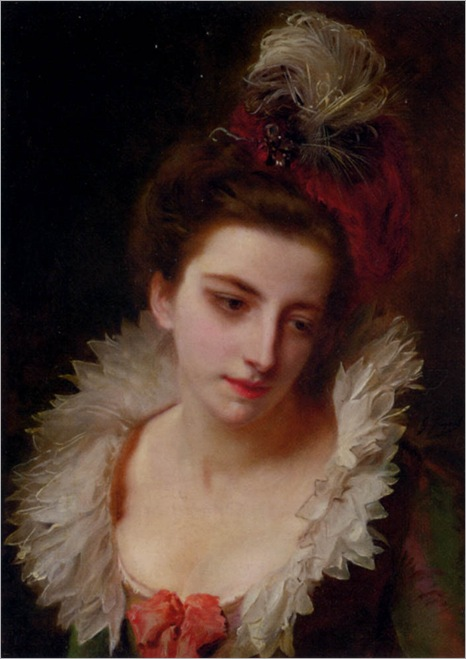 Portrait of a lady with a feathered hat-Gustave-Jean-Jacquet