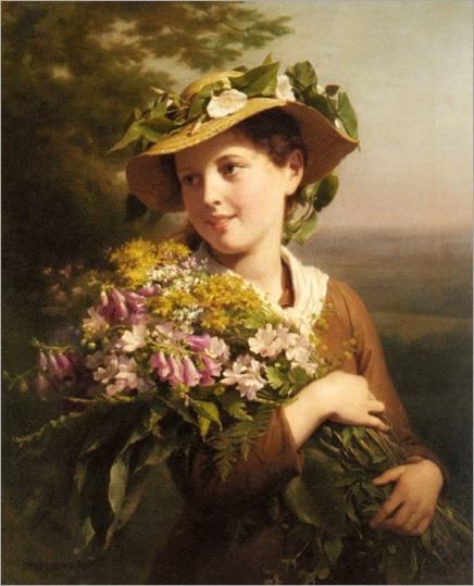 Zuber_Buhler_Fritz_A_Young_Beauty_Holding_A_Bouquet_Of_Flowers