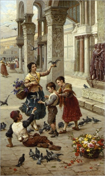 Antonio Paoletti - Feeding the Pigeons at Piazza St_ Marco_ Venice