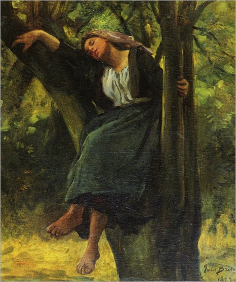 Breton-Jules-French-1827-to-1906-Asleep-In-The-Woods