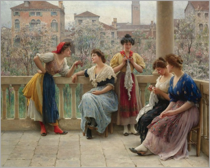 Conversation On The Terrace, Venice-by-Eugene-de-Blaas