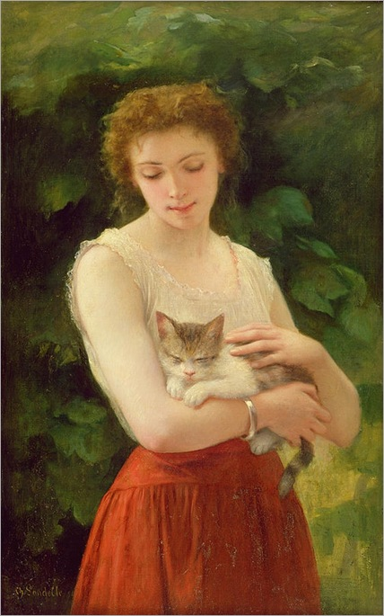 Country Girl and Her Kitten, Charles Landelle