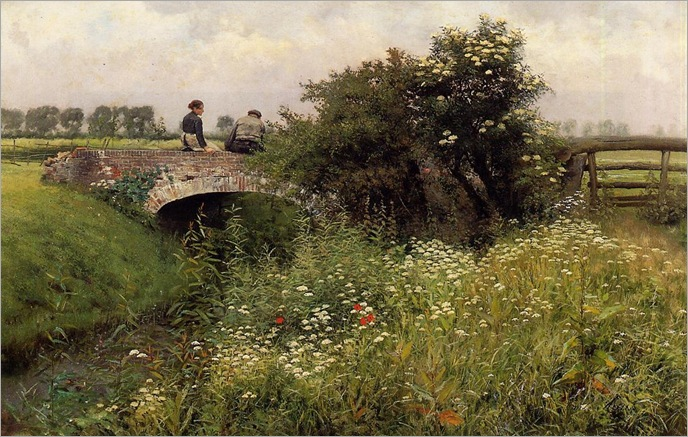 Emile_Claus_-_A_Meeting_on_the_Bridge