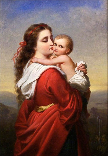FannyGeefs-mother-embracing-a-child-in-a-landscape-