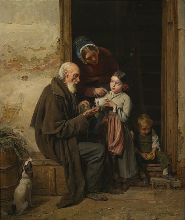 Ferdinand Georg Waldmüller,-Die Milde Gabe