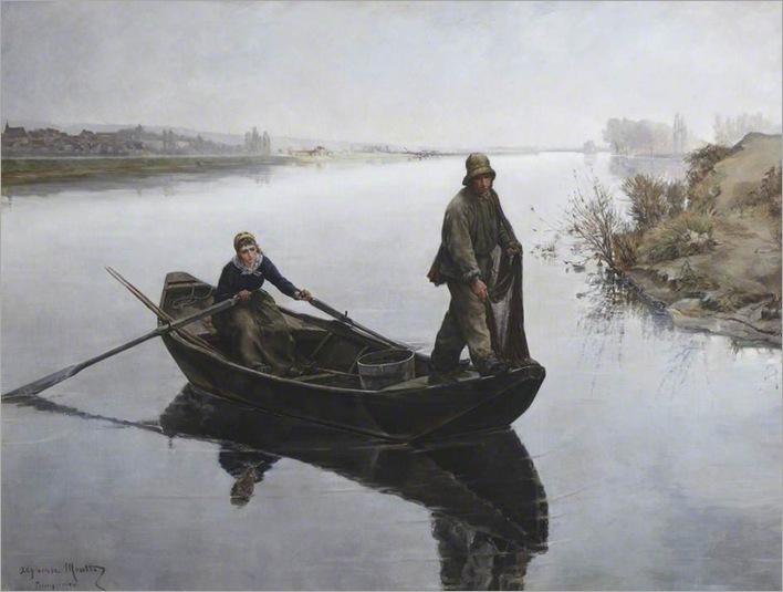 french-river-scene-poissy-Joseph Marie Alphonse Moutte