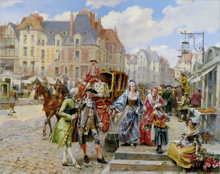 Lesur_Henri_Victor_A_Paris_Street_Scene_in_The_Time_Of_Louis_XIV