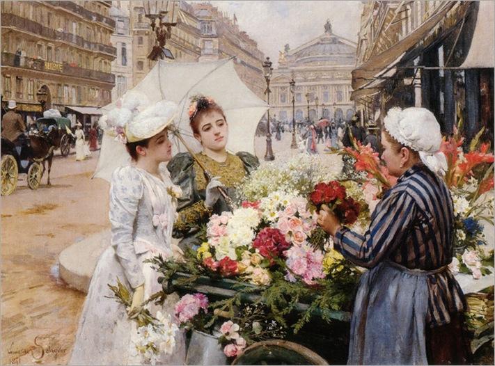 Louis_Marie_de_Schryver_The_Flower_Seller_Avenue_de_LOpera_Paris