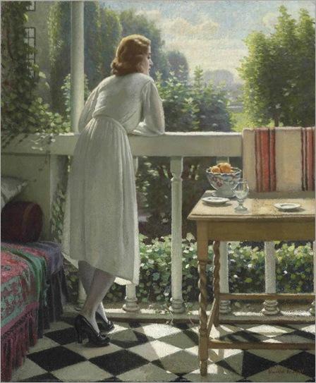 Miss Gladys on the Veranda-Harold-Knight