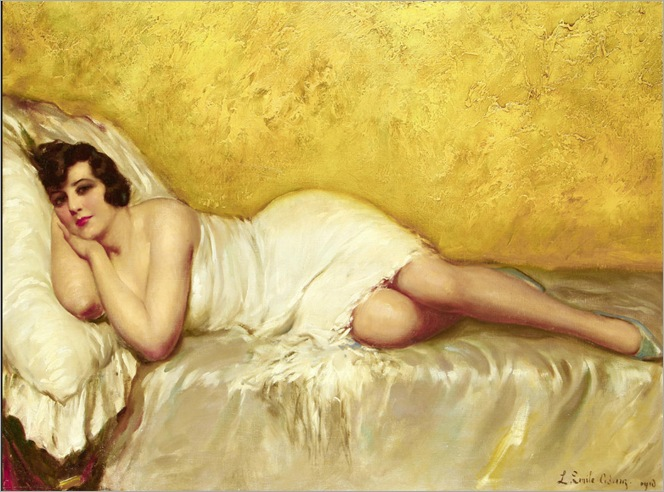 reclining-lady-by-Louis Emile Adan