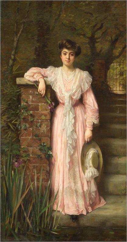 A portrait of a lady in a garden wearing a pink dress holding an iris-Thomas-Benjamin-Kennington