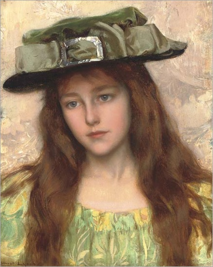 A Young Beauty in a Green Hat-Albert-Lynch