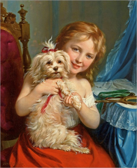 Buhler_Fritz_Zuber_A_Young_Girl_With_A_Bichon_Frise