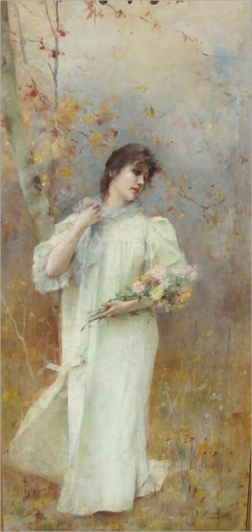 Emile-A-Pinchart_Lady-with-Flowers