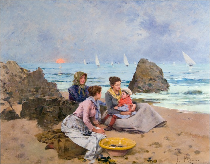 francisco-miralles-(spanish-1848-1901)-fisherwomen-on-the-beach-at-dush
