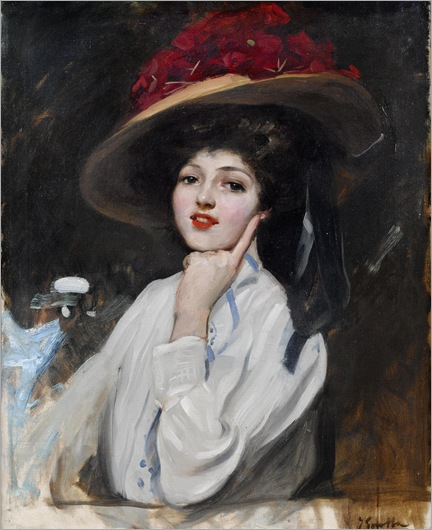 Joaquin Sorolla y Bastida (1863-1923) - Portrait of a young lady in a hat