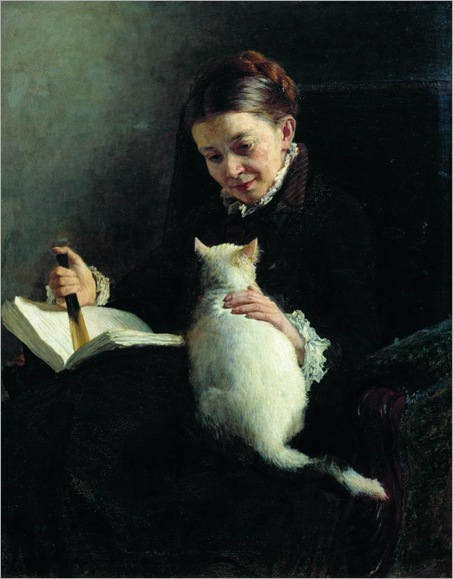 Portrait of a Lady with a Cat. Nikolai Yaroshenko (Ukrainian, 1846-98)