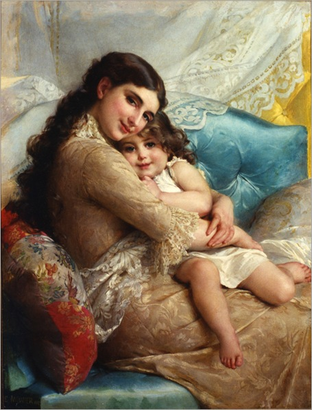 portrait_of_a_mother_and_daughter-Emile_Munier-1840-1895