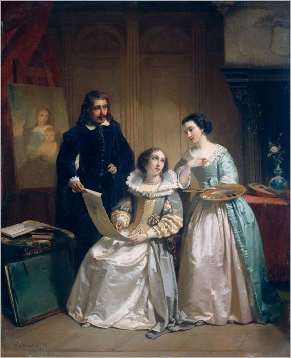 Scholten, Hendrik Jacobus (1824-1907) - Painters in atelier, 1854