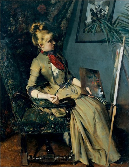 Young woman at his easel, Etienne Francois Eugene Lecoindre